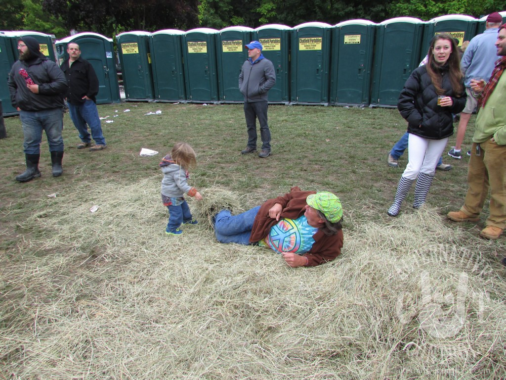 Fortunately there were no lengthy port-o-potty lines at this fest, however there was a dangerous hay monster attacking hippies who tried to use them