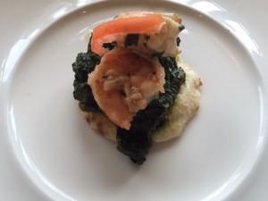 shrimp kabob with saag thali