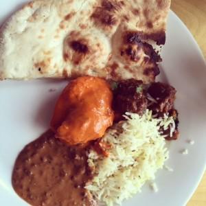 naan lentils chicken tikka masala goat rice thali